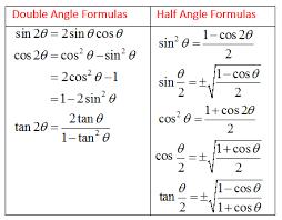 double angle formula and half angle