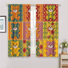 Amazon Com 2020 Gardome Window Curtains Cabin Decor Colorful Kids Room Pattern With Patchwork Style Teddy Bears Cute Funny Childish Multicolor Decor Room Darkening Window Curtains 63 W X 72 L Home Kitchen