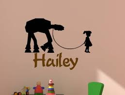 Star Wars Vinyl Wall Decal Girls Name Personalized At At Etsy