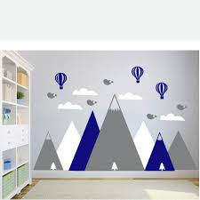 Clouds Hot Air Balloons Wall Decals For Kids Bedroom Decor Mountain Decal Art Nursery Wall Stickers Interior Mountains Lc1308 Wall Stickers Aliexpress