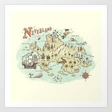 Neverland Map Art Print By Ryanorourke Society6