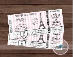 Paris Boarding Pass Party Invitation Paris Por