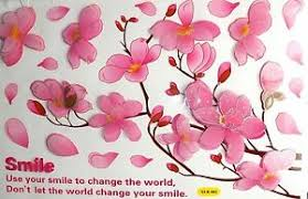 wall stickers decals d pink flowers smile quotes room wall decor