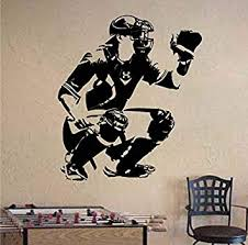 Amazon Com Wall Stickers Wall Tattoos Wall Decals Wall Posters Wall Decals Baseball Catcher Vinyl Removable Waterproof 3d Poster Decals Sportkids Room 65x57cm Baby