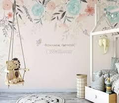 Vintage Soft Blue Vine Flowers Wallpaper Mural Wallmur