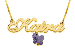 gold plated name necklace with small