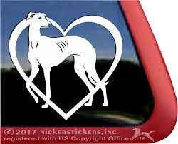 Custom Love Heart Greyhound Dog Decals Stickers Nickerstickers