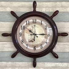 nautical wall clock brown white blue