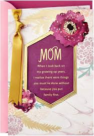Amazon.com : Hallmark Mothers Day Card from Son or Daughter (You Put Family  First) (659MBC1239) : Office Products