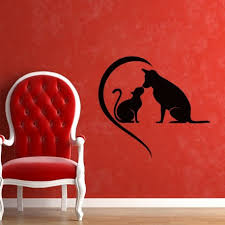 dog and cat love wall decal