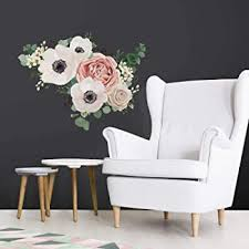 Roommates Fresh Floral Peel And Stick Giant Wall Decals White Pink Green 1 Sheet 36 5 Inches X 17 25 Inches Rmk3866gm Amazon Com