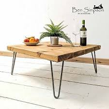 round wooden top coffee table hairpin