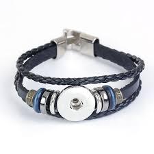 real leather snap on bracelets fit