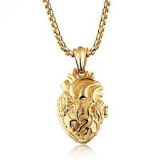 anatomical human heart necklace gold