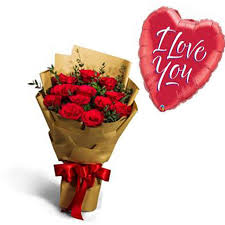 romantic red roses hand bouquet love