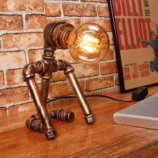 Industrial Table Lamp For Vintage Loft Decor Luminaria Table Lamp Retro Study Room Bedroom Kids Robot Iron Pipe Nightstand Lamp Led Table Lamps Aliexpress