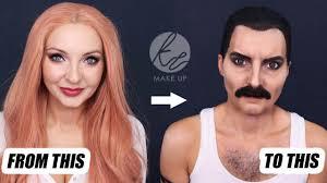 fred mercury makeup transformation