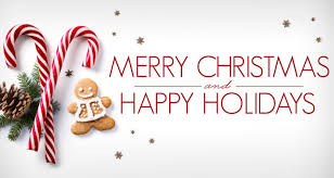 Image with text that says merry christmas and Happy holidays and also has a candy cane and a gingerbread man cookie and 2 small pine branches with a pinecone