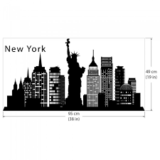 New York Skyline City Silhouette Vinyl Wall Art Decal