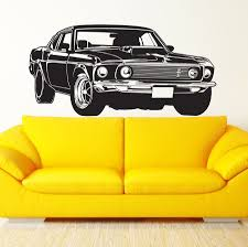 Shelby Gt Ford Mustang Muscle Racing Car Wall Decal Art Decor Sticker Vinyl Wall Stickers Mural Wallpaper D248 Sticker Mural Vinyl Wallvinyl Wall Stickers Aliexpress