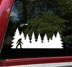 Bigfoot In Treeline V2 Vinyl Decal Sticker Pine Trees Forest Pnw Sasquatch Ebay