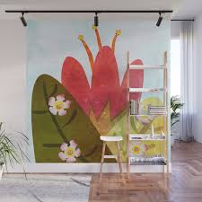 giant red flower wall mural by