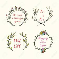 vector wedding invitation graphics hand drawn floral wreath