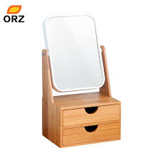 bamboo box with mirror drawer cosmetic