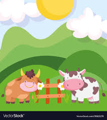 Farm Animals Bull And Cow Wooden Fence Flowers Vector Image