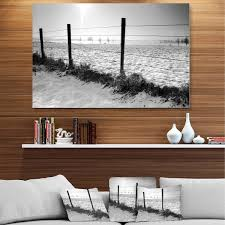 Shop Landscape In Snow With Fence Oversized Beach Glossy Metal Wall Art On Sale Overstock 12786851