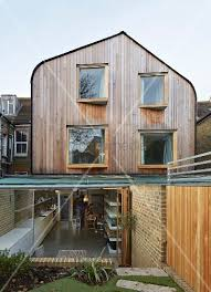 view from garden of modern wood clad
