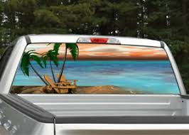 Beach Scene 5 Palm Trees Rear Window Decal Graphic For Truck Suv Ebay