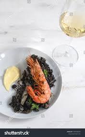 Black Rice Seafood Shrimps Stock Photo ...
