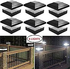 2 Lights Garden Post Deck Square Cap Fence Solar Powered Light Black Will Fit 5x5 Inch
