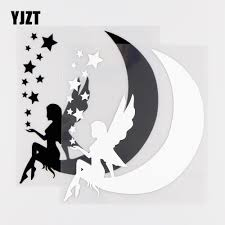 Yjzt 13 5x15cm Fairy Sitting On Moon Star Vinyl Decals Beautiful Car Sticker Window Decor Black Silver 10a 0218 Leather Bag