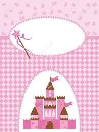 Tarjeta De Invitacion Con La Princesa Castillo Y Varita