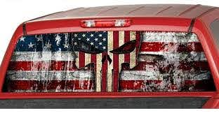 American Flag Punisher Skull Rear Window Graphic Decal Tint Etsy