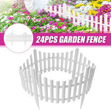 24pcs Garden Fence Border Decor Panels Fencing Landscape Picket Edging Gardenner