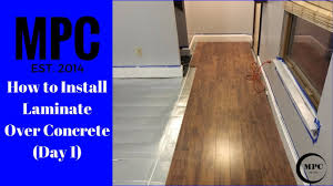 how to install laminate over concrete