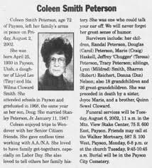 Coleen Smith Peterson Obituary 4 Aug 2002 The Daily Herald Mother is Ida  Wilma Cloward Smith - Newspapers.com