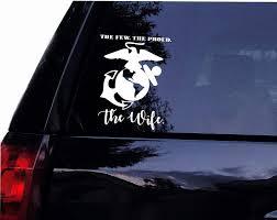 Amazon Com Tshirt Rocket The Few The Proud The Wife Military Marines Emblem Vinyl Car Window Wall Decal Sticker 7 Automotive