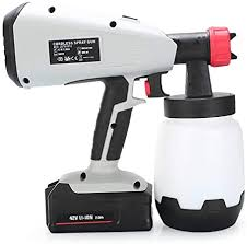 Hsdck Electric Cordless Paint Sprayer Fence Paint Sprayer Handheld Sprayers Spray Gun With 3 Spray Patterns For Ceilings Walls And Fence 42v Amazon Co Uk Kitchen Home