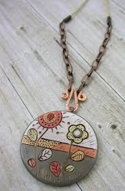 field of flowers polymer clay pendant