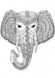 Coloring Book Page For Adults Elephant Stock Vector C Lexver