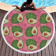 Fruit Avocado Monstera Pink Beach Towels Kids Girl Shawl Fringe Microfiber Round Fabric Bath Towels For Living Room Home Decor Bath Towels Aliexpress