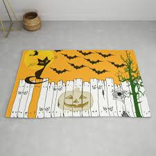 Black Cat On A Spooky Fence Halloween Rug By Scotthervieux Society6