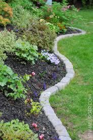 garden area with stone brick edging
