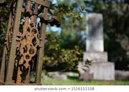 Rusted Fence Gate Graveyard Cemetery Tombstones Stock Photo Edit Now 1516151108