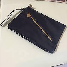 h m black patent leather look purse