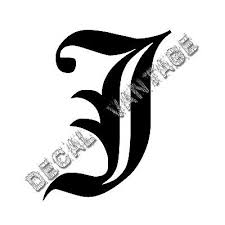 Old English J Letter Initial Vinyl Sticker Decal Font Diploma Choose Size Color Ebay
